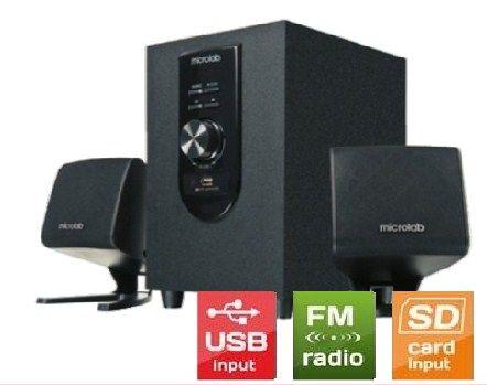 Microlab M-108U Aktivni drveni zvucnici 2.1  12W RMS(6W, 2x3W) SD, USB, FM radio, 3.5mm