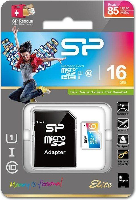 SiliconPower MicroSDHC 16GB * U1/Class 10 Elite + SD adapter, SP016GBSTHBU1V20SP