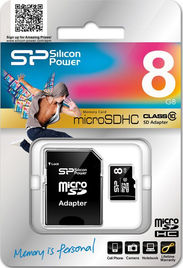 x-SiliconPower MicroSDHC 8GB Class 10+ SD adapter, SP008GBSTH010V10SP