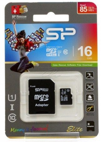 x-SiliconPower MicroSDHC 16GB * UHS-I U1/Class 10 Elite + SD adapter, SP016GBSTHBU1V10SP (470)
