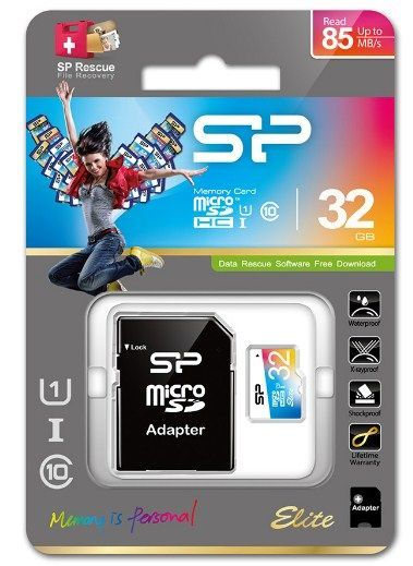 SiliconPower MicroSDHC 32GB * U1/Class 10 Elite + SD adapter, SP032GBSTHBU1V20SP