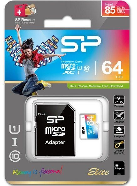 SiliconPower MicroSDXC 64GB * U1/Class10 Elite + SD adapter, SP064GBSTXBU1V20SP