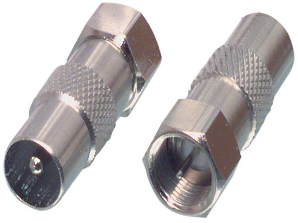 con-FC-029 IEC / F-adapter. F-connector to coax plug adapter.