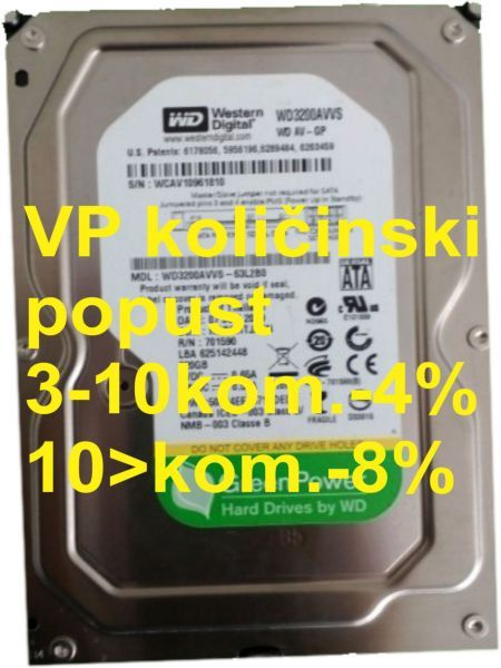 HDD 3.5'' ** 320GB WD3200AUDX WD AV-GP GREEN 7200RPM 32MB SATA3