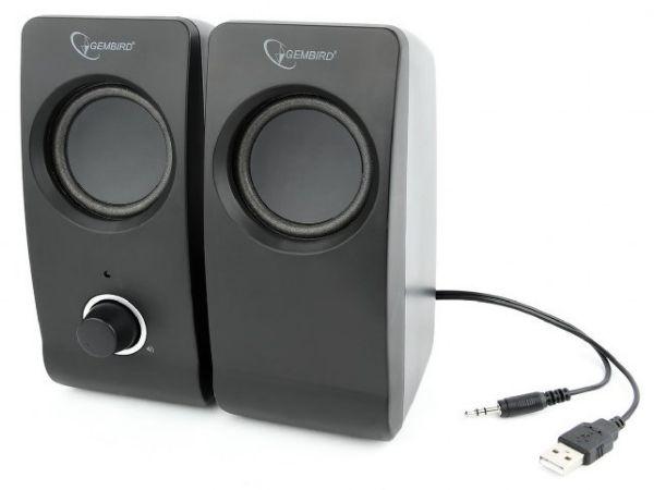 SPK-DU-01 Gembird Stereo zvucnici TSUNAMI black, 2x3W RMS USB pwr, 3.5mm