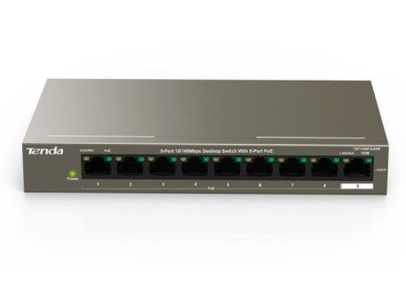 Tenda TEF1109P-8-63W LAN 9-Port 10/100 POE Switch RJ45 ports