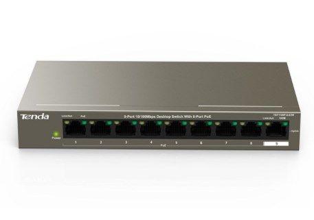 x-Tenda TEF1109P-8-63W LAN 9-Port 10/100 POE Switch RJ45 ports