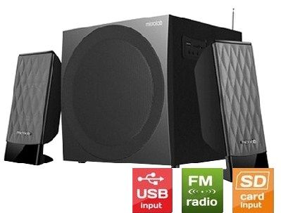 Microlab M-300U * Aktivni drveni zvucnici 2.1  38W RMS(14W,2x12W) SD, USB, FM radio, 3.5mm (3056)