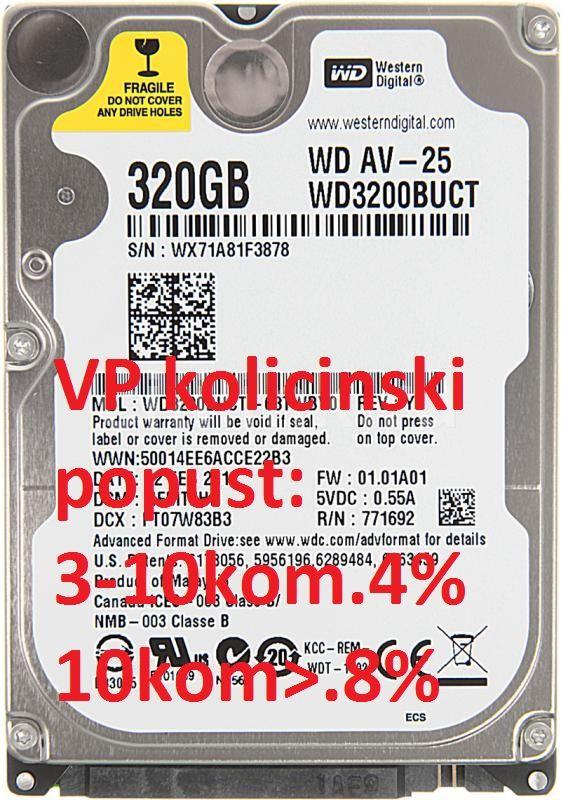 HDD 2.5'' ** 320GB WD 5400RPM 16MB 9mm SATA WD3200BUCT