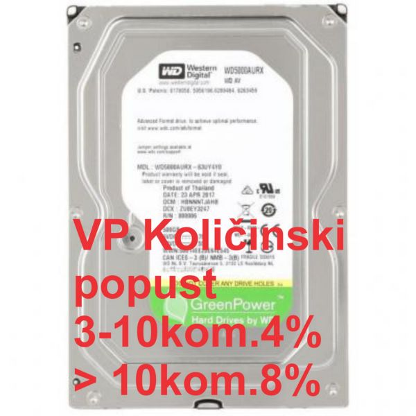 HDD 3.5'' ** 500GB WD5000AURX WD AV 24/7 IntelliPower 64MB SATA3