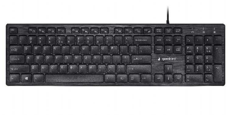 KB-MCH-03 Gembird Multimedia chocolate, keyboard, USB, US layout, Slim black