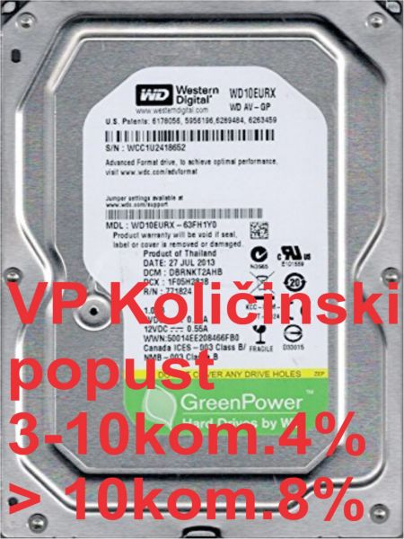 HDD 3.5'' * 1TB WD10EURX WD AV-GP Green IntelliPower 64mb SATA3(2899)