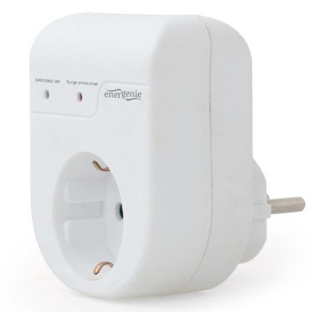 EG-SPG1-01-W Gembird Surge protector, single socket, Schuko, white