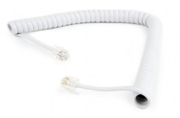 TC4P4CS-2M-W Gembird Telefonski kabl spiralni za slusalicu, RJ10 (4P4C), 2m, white