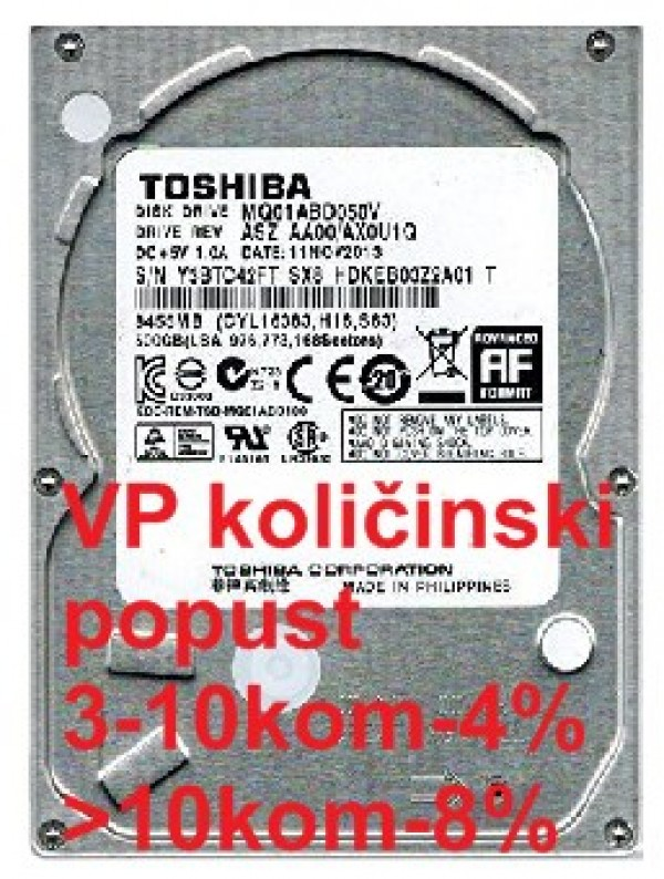 HDD 2.5'' ** 500GB MQ01ABD050V TOSHIBA 5400RPM 8MB 7mm SATA3