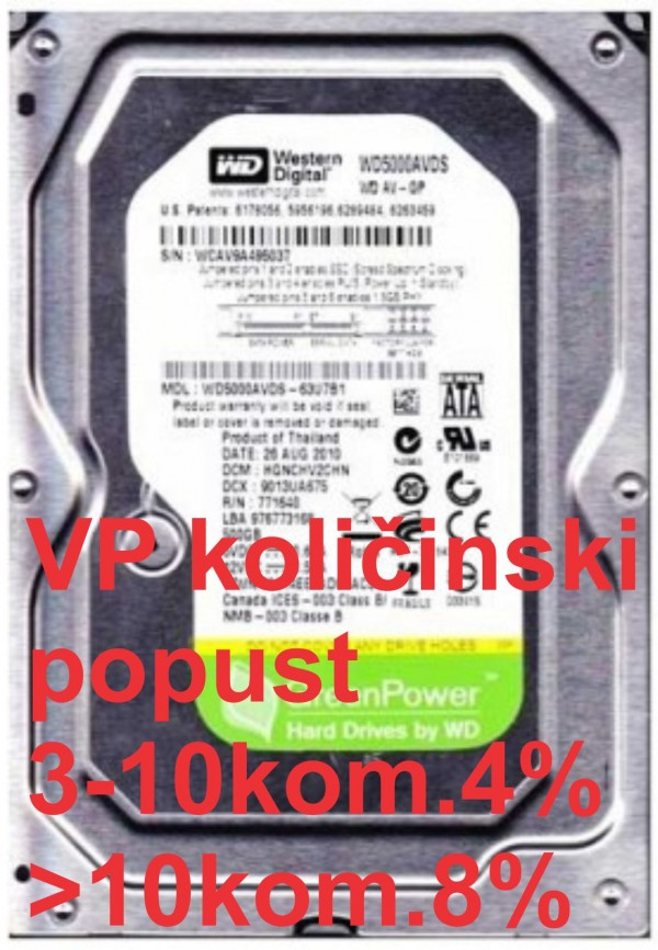 HDD 3.5'' ** 500GB WD5000AVDS WD AV-GP 7200RPM 32MB SATA