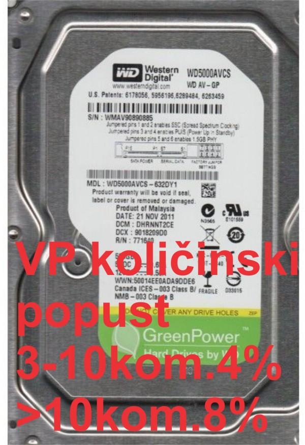 HDD 3.5'' ** 500GB WD5000AVCS WD AV-GP GREEN 7200RPM 16MB SATA