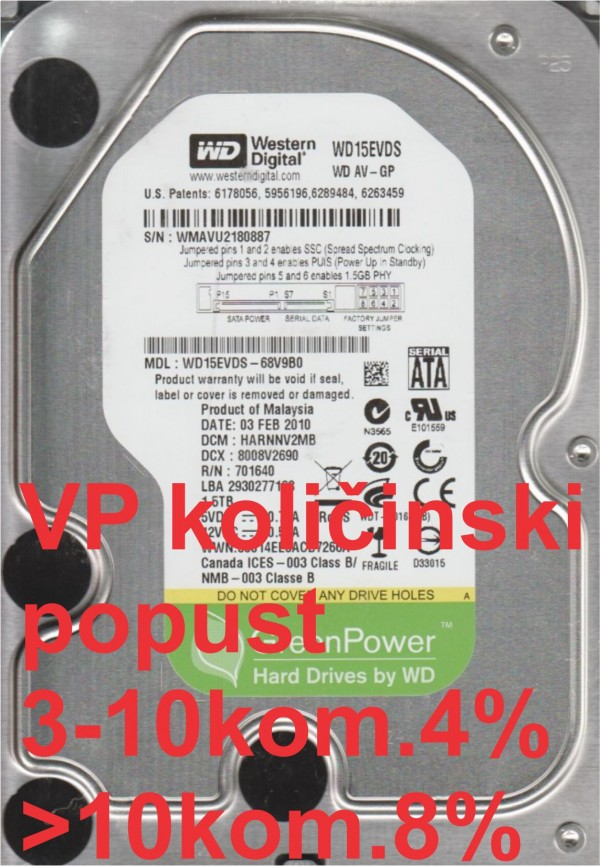 HDD 3.5'' ** 1.5TB WD15EVDS WD AV-GP Green IntelliPower 7200RPM 32MB SATA