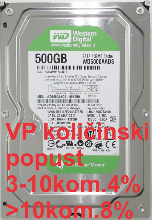 HDD 3.5'' ** 500GB WD5000AADS WD GREEN 7200RPM 32MB SATA
