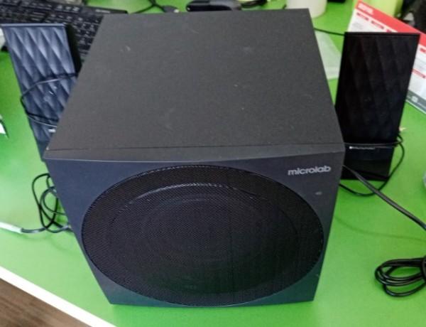 OUT - Microlab M-300U Aktivni drveni zvucnici 2.1  38W RMS(14W,2x12W) SD, USB, FM radio, 3.5mm 7