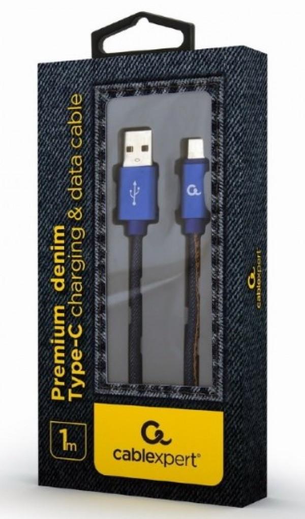 CC-USB2J-AMCM-1M-BL Gembird Premium jeans (denim) Type-C USB cable with metal connectors, 1m, blue