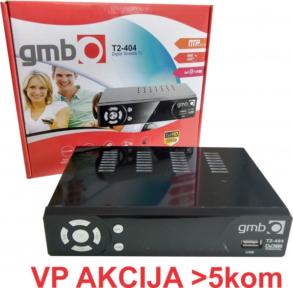 GMB-T2-404 **DVB-T2 SET TOP BOX USB/HDMI/Scart/RF-out, PVR, Full HD, H264, hdmi-kabl, modulator 1290