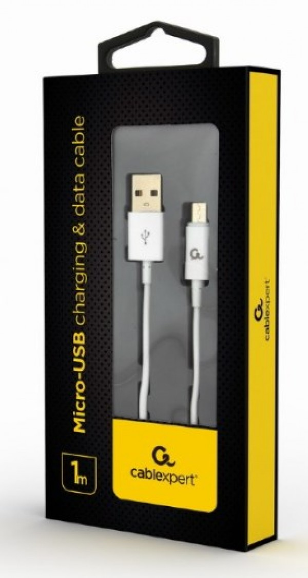 CC-USB2P-AMmBM-1M-W Gembird Micro-USB charging and data cable, 1m, white