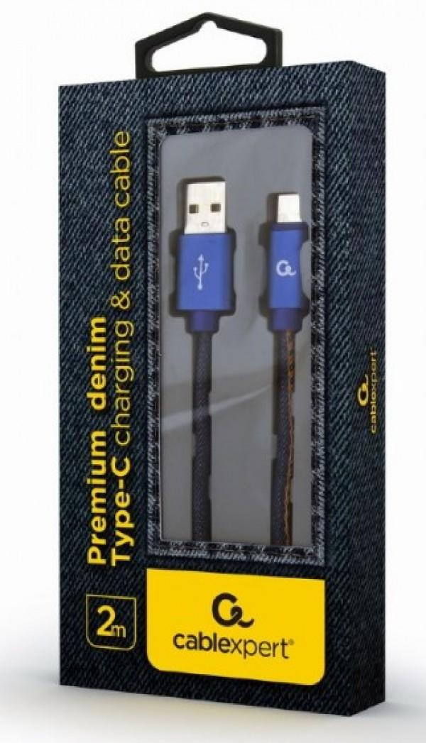 CC-USB2J-AMCM-2M-BL Gembird Premium jeans (denim) Type-C USB cable with metal connectors, 2 m, blue
