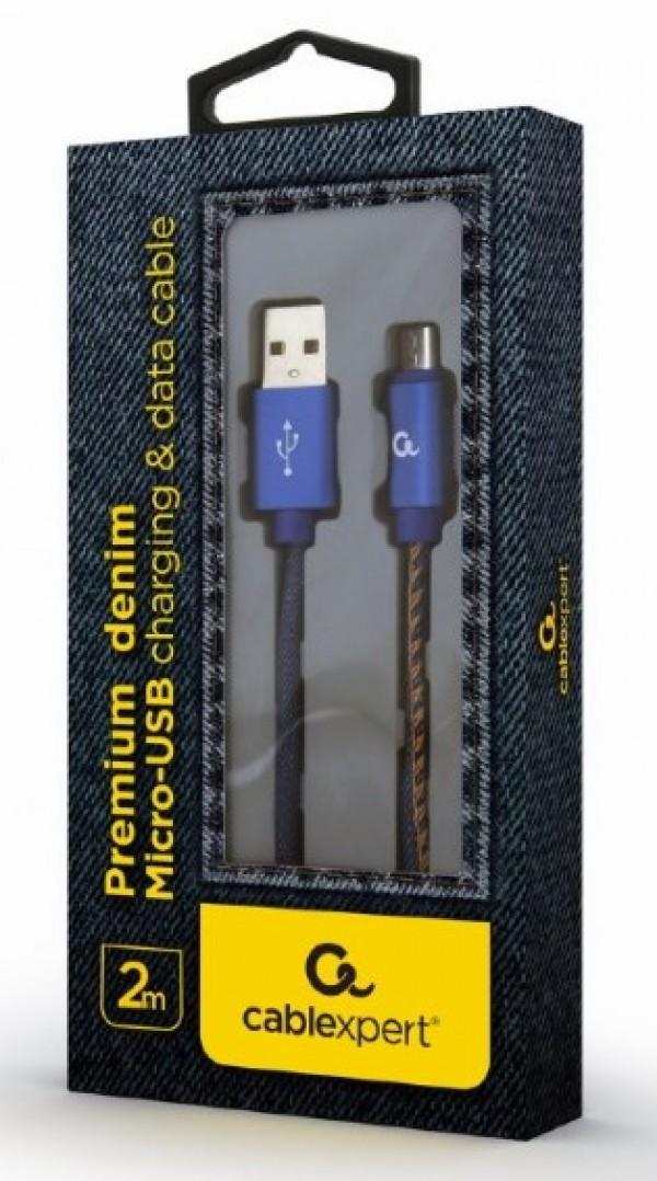 CC-USB2J-AMmBM-2M-BL Gembird Premium jeans (denim) Micro-USB cable with metal connectors, 2 m, blue