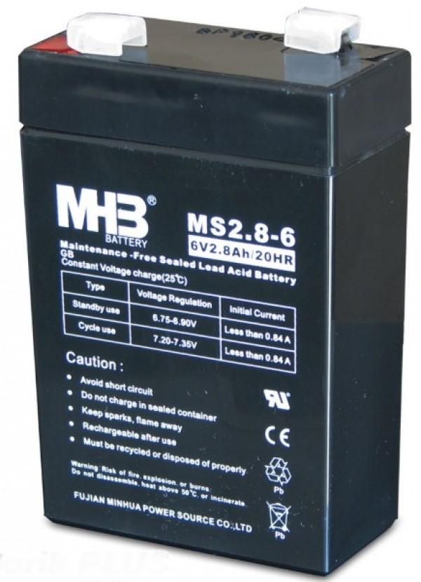 BAT-MHB MS 2.8-6 6V, 2.8Ah olovna VRLA AGM baterija 66x33x104mm