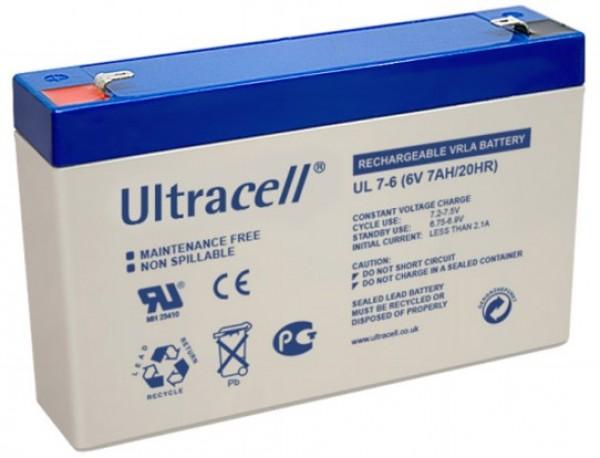 BAT-Ultracell UL7-6 6V 7Ah olovna AGM VRLA baterija bez odrzavanja 151x35x94mm