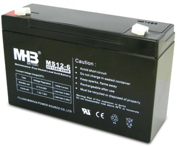 BAT-MHB MS 12-6 6V,12Ah olovna AGM VRLA baterija bez odrzavanja 151x50x94mm