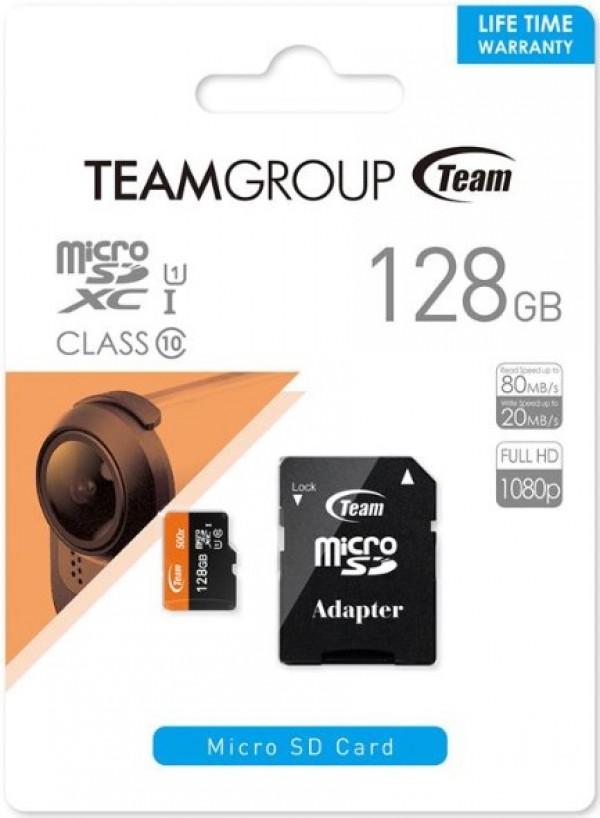 TeamGroup MICRO SDXC 128GB UHS-I +SD Adapter TUSDX128GUHS03