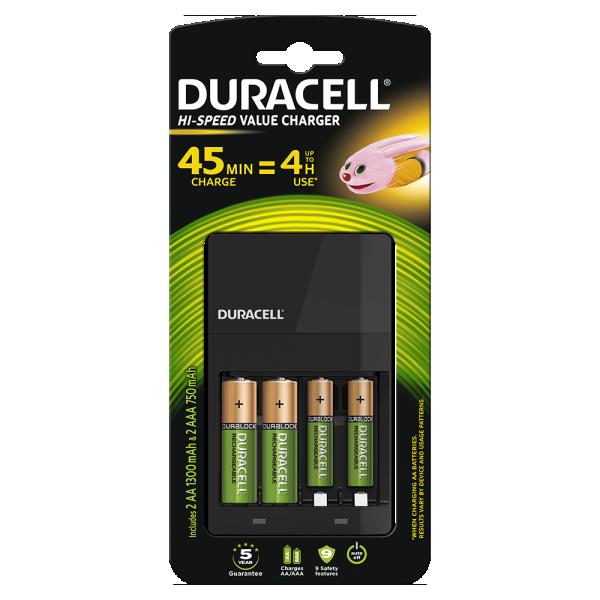 Duracell CEF14 PUNJAC + punjive baterije 2xAA NiMH 1300mAH+ 2xAAA 750mAh( Hi speed 4h, auto-OFF)