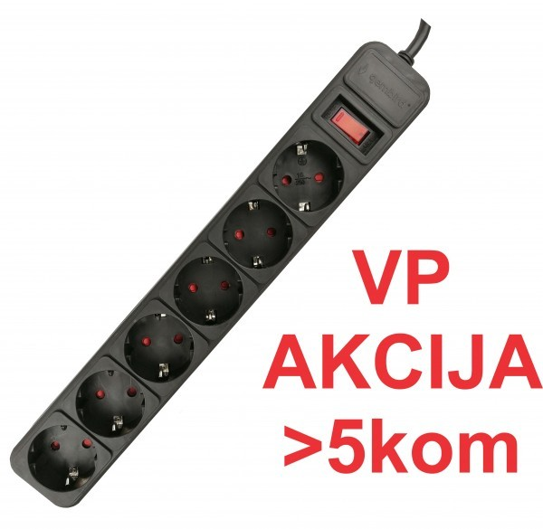 SPG6-B-6 (3G1.5) ** Gembird produzni kabl sa zastitom 6 uticnica (3x1.5mm) 1.8m black (359)