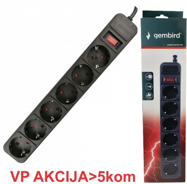 SPG6-B-15 (3G1.5) ** Gembird produzni kabl sa zastitom 6 uticnica (3x1.5mm) 4.5m black (527)