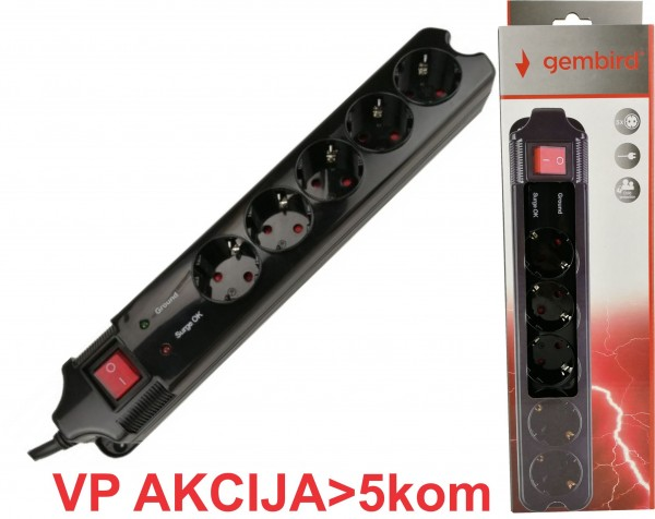 SPG5-B-10 (3G1.5) ** Gembird produzni kabl sa zastitom 5 uticnica (3x1.5mm) 3m black (663 )