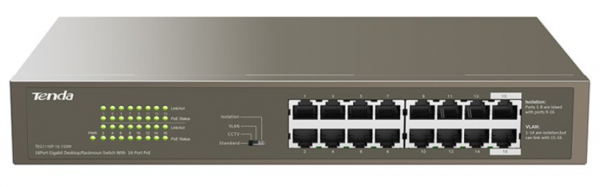 Tenda TEG1116P-16-150W LAN 16-Port 10/100/1000M Base-TX Ethernet ports Switch