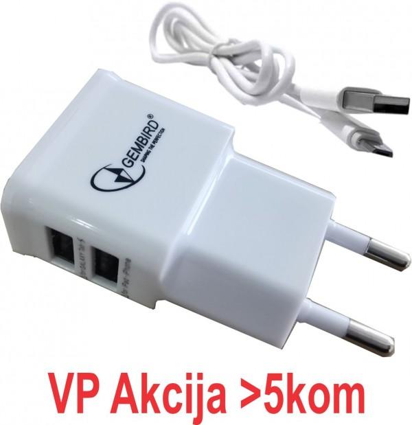 NPA-AC21 white ** Gembird punjac za telefone i tablete 5v 2.1A+1A 2xUSB+micro USB DATA kabl 1M(280)