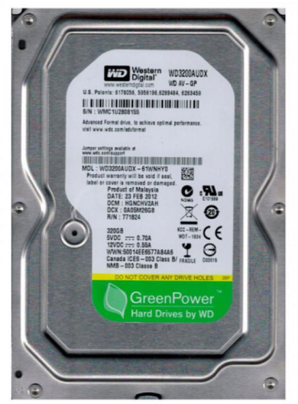 HDD 3.5'' * 320GB WD3200AUDX WD AV-GP GREEN 7200RPM 32MB SATA3