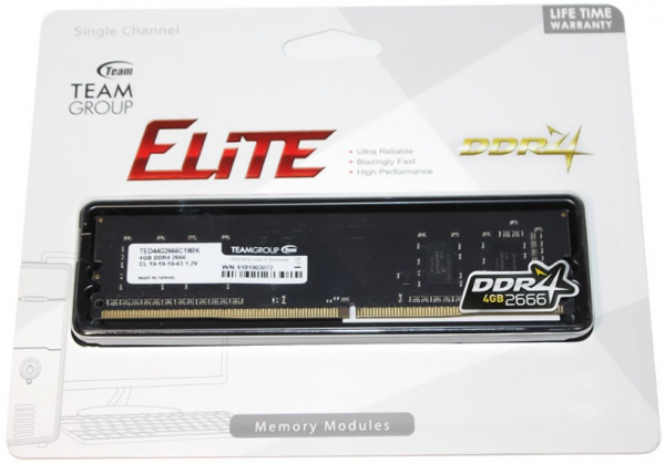 TeamGroup DDR4 TEAM ELITE UD-D4 4GB 2666MHZ 1,2V 19-19-19-43 TED44G2666C1901