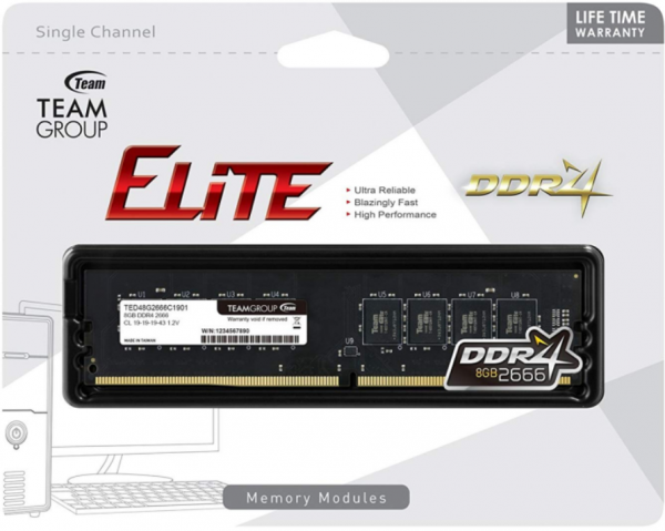 TeamGroup DDR4 TEAM ELITE UD-D4 8GB 2666MHZ 1,2V 19-19-19-43 TED48G2666C1901