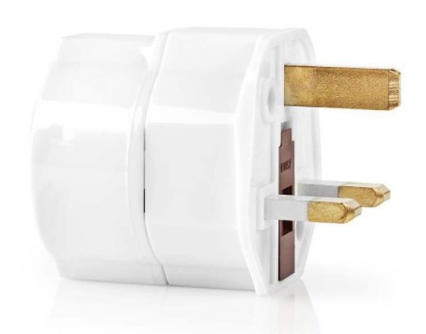 TRAV01 Travel Adapter, EU to UK, White