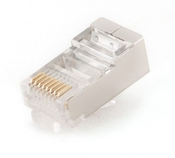 PLUG5SP/100 Gembird shielded modular 30u gold plated LAN konektor RJ45 za FTP SFTP cat5 (pak.100kom)