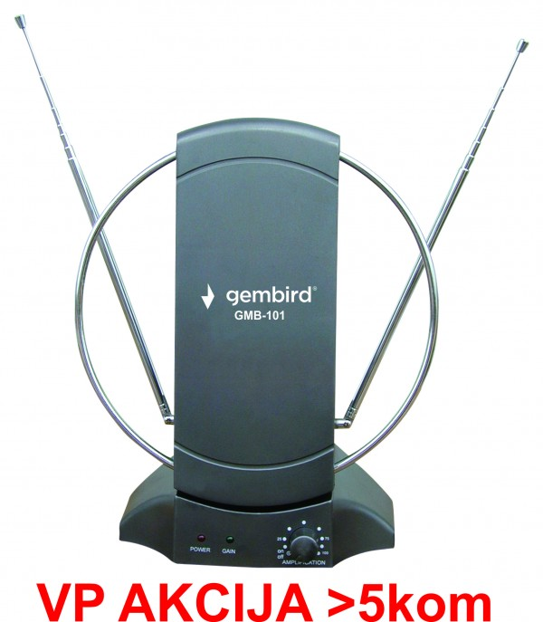 GMB-101 ** Antena sobna sa pojacalom, UHF/VHF, dobit 25dB, 220v + 12V crna (721)