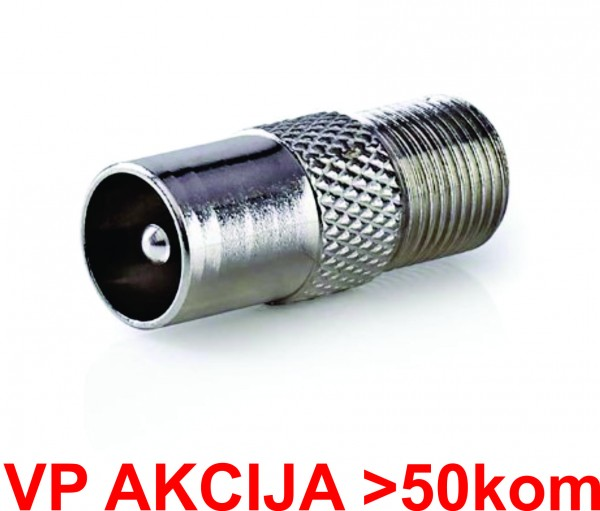 CON-FC-025 ** F female to IEC male adaptor, Zinc Alloy 25kom pakovanje (13,6)