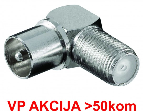 CON-FC-025/90 ** F female to IEC male elbow adaptor, Zinc Alloy min.25 pakovanje (19,2)