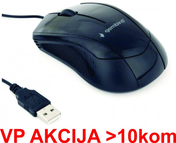 MUS-3B-02 ** Gembird Opticki mis 1000Dpi 3-button black 105mm USB (168)