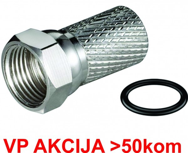 CON-FC-001RING **  F male connector for RG6 cable, 6.6mm, Zinc,with water proof ring - min.25kom (8)