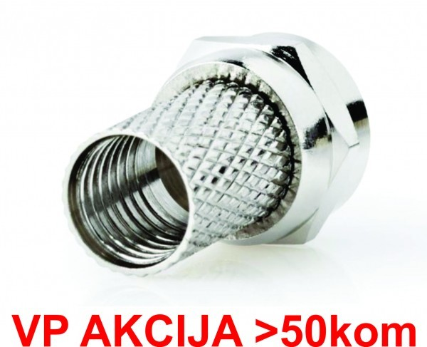 CON-FC-001 **  F male connector for RG6 cable, 6.6mm, Zinc Alloy min.25kom (7,2)